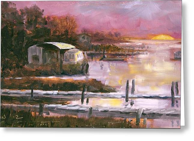 Apalachicola Seafood Greeting Cards - First Light Two Mile Channel Greeting Card by Susan Richardson