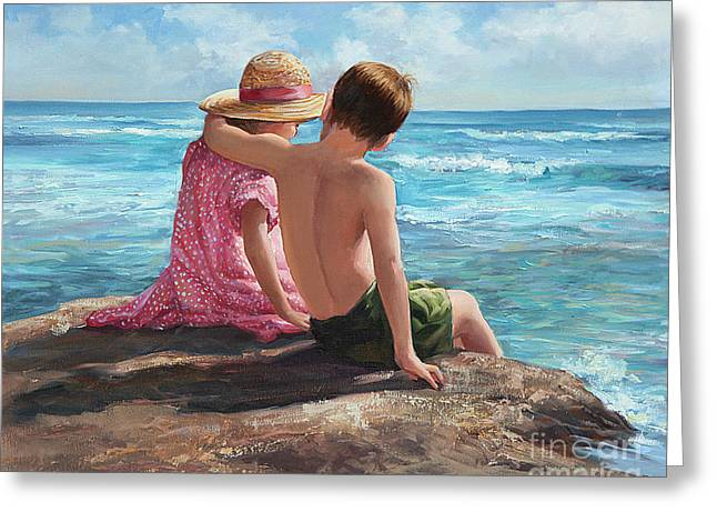 First Love Greeting Cards - First Love by the Seashore Greeting Card by Laurie Hein