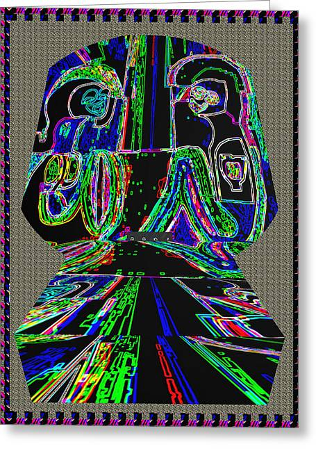 Tomb Mixed Media Greeting Cards - FIRST LOVE Ghost Talk on the Tomb Stone  Neon Light art by Navin Joshi Greeting Card by Navin Joshi