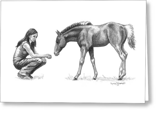 Crazy Drawings Greeting Cards - First Love Girl with Horse Foal Greeting Card by Renee Forth-Fukumoto