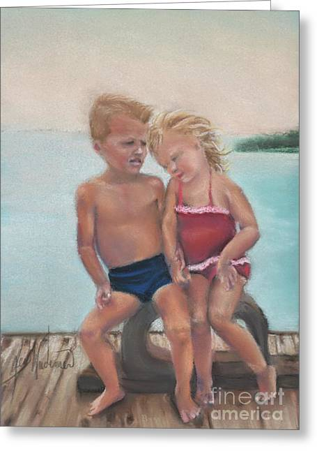 Suit Pastels Greeting Cards - First Love Greeting Card by Leah Wiedemer