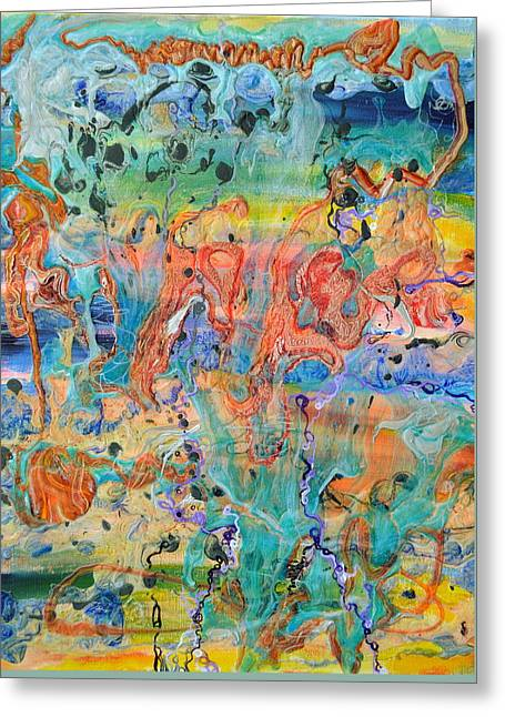 Inflation Paintings Greeting Cards - First microseconds Greeting Card by Regina Valluzzi