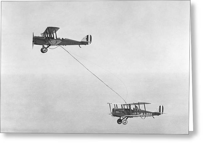 Air Service Greeting Cards - First mid-air refuelling, 1923 Greeting Card by Science Photo Library