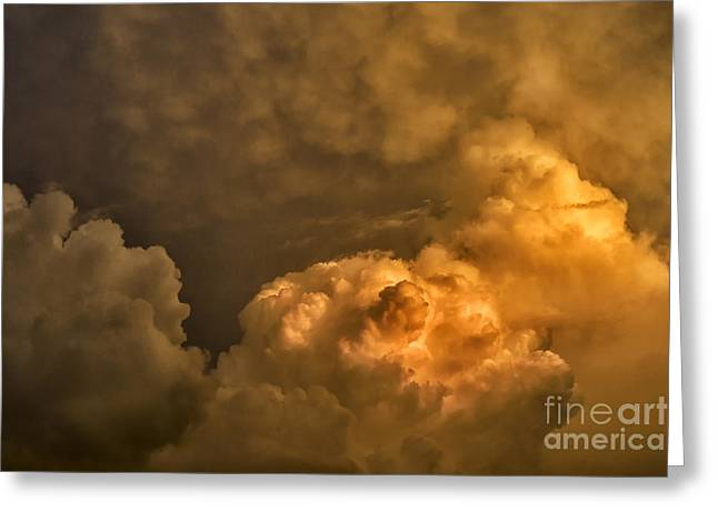 Destructive Greeting Cards - First Morning Light Storm Clouds Greeting Card by Thomas R Fletcher