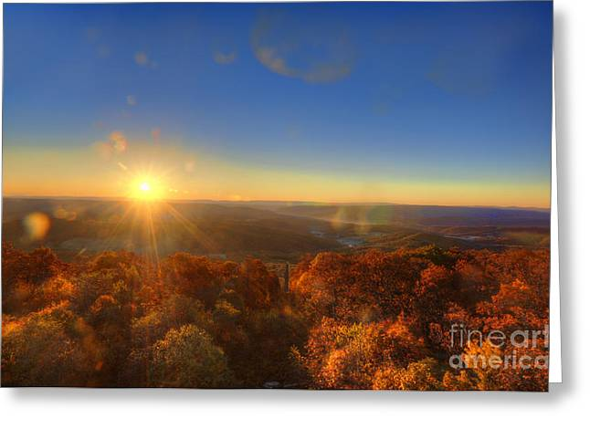 First morning light striking top of trees Greeting Card by Dan Friend