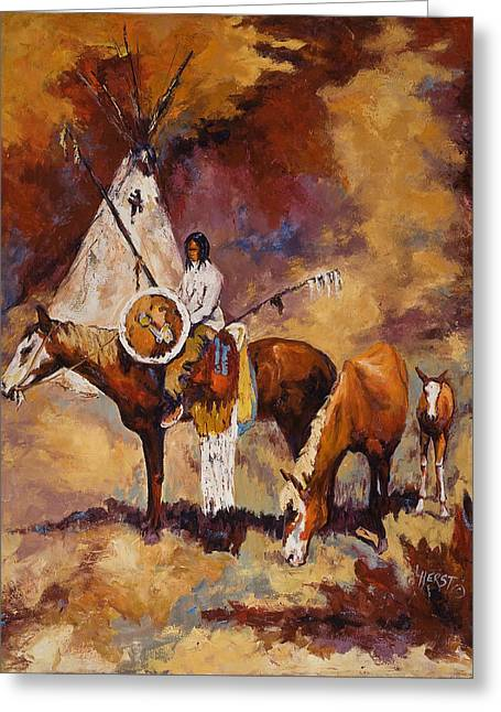 Loose Style Paintings Greeting Cards - First Nation Greeting Card by LC Herst
