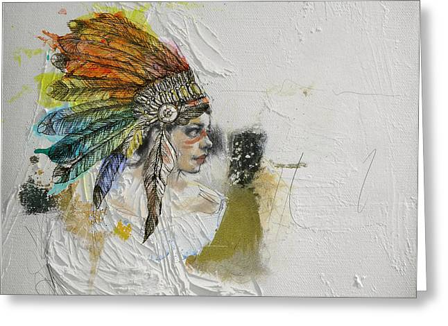 Aboriginal Art Paintings Greeting Cards - First Nations 17 Greeting Card by Corporate Art Task Force
