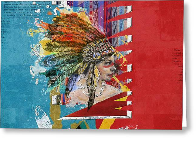 Indigenous Peoples Greeting Cards - First Nations 31 Greeting Card by Corporate Art Task Force