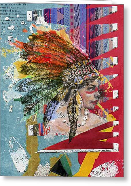 Aboriginal Art Paintings Greeting Cards - First Nations 32 B Greeting Card by Corporate Art Task Force