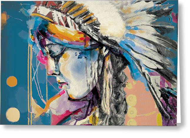 Aboriginal People Greeting Cards - First Nations 7B Greeting Card by Corporate Art Task Force