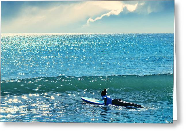 Surfer Art Greeting Cards - First Of The Day Greeting Card by Laura  Fasulo