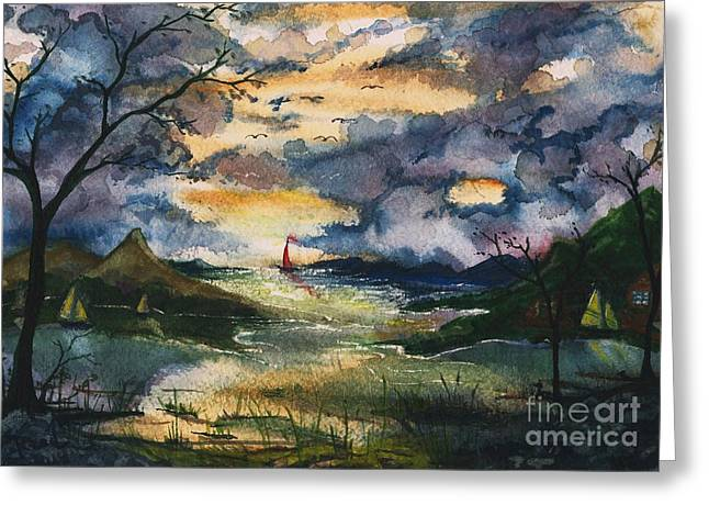Village By The Sea Greeting Cards - First One Out of the Cove by Reed Novotny Greeting Card by Reed Novotny