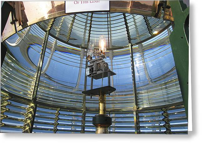 Light Magnifications Greeting Cards - First Order Fresnel Lighthouse Lens Greeting Card by Daniel Hagerman