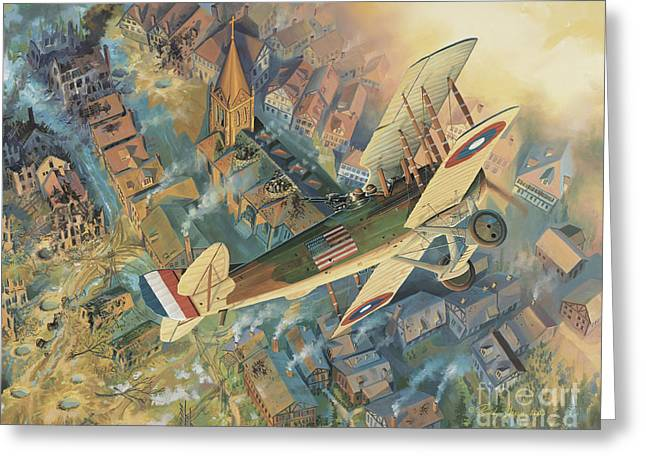 Biplane Greeting Cards - First Over The Front Greeting Card by Randy Green