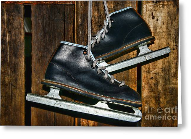 Ice-skating Greeting Cards - First Pair of Ice Skates Greeting Card by Paul Ward