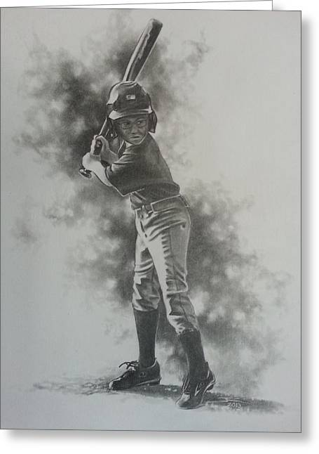 Baseball Bat Drawings Greeting Cards - First Plate Appearance Greeting Card by James Rodgers