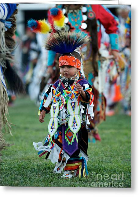 Indian Portraits Greeting Cards - First PowWow Greeting Card by Chris  Brewington Photography LLC