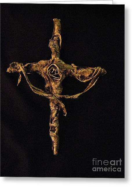 Faith Sculptures Greeting Cards - First Rose Greeting Card by Jan Reid