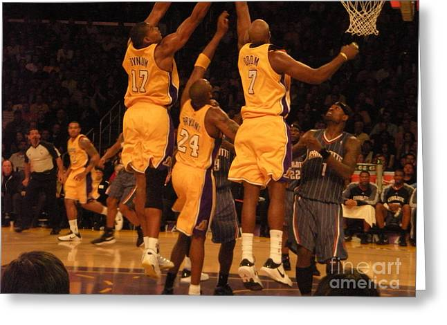 Kobe Bryant Photographs Greeting Cards - First Row Greeting Card by Jillyin Calhoun