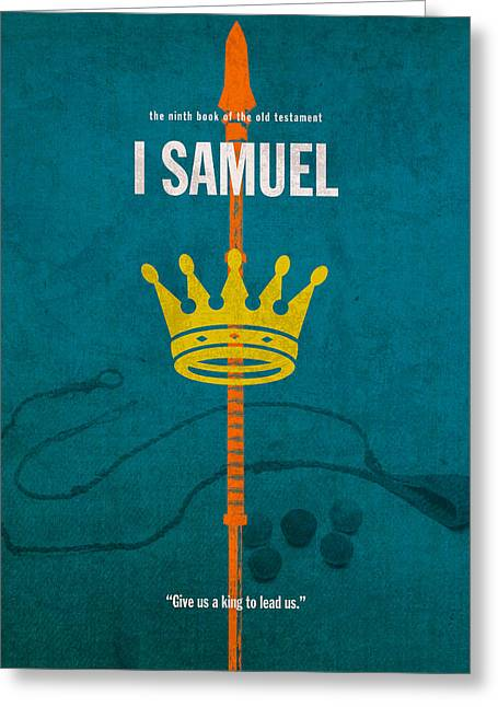 Bible; David; Goliath Greeting Cards - First Samuel Books of the Bible Series Old Testament Minimal Poster Art Number 9 Greeting Card by Design Turnpike