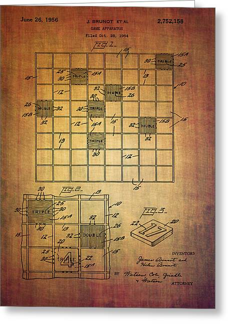First Scrabble Game Board Patent From 1956  Greeting Card by Eti Reid