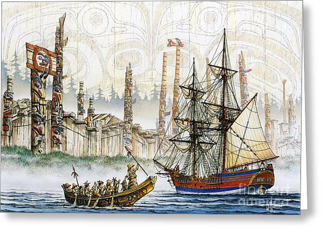 Best Sellers -  - Lady Washington Greeting Cards - First Ship Greeting Card by James Williamson