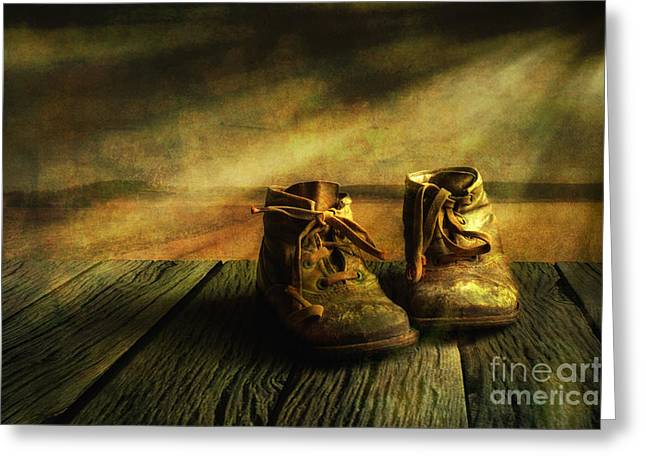 Misty. Digital Greeting Cards - First shoes Greeting Card by Veikko Suikkanen