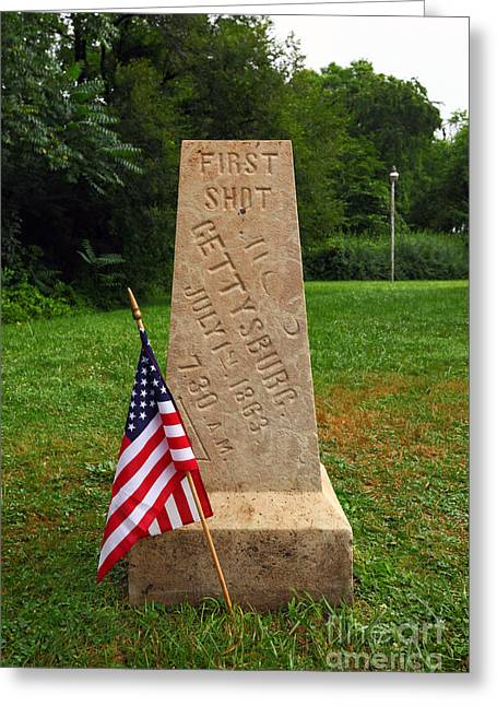 Civil War Battle Site Greeting Cards - First Shot Monument Gettysburg Greeting Card by James Brunker