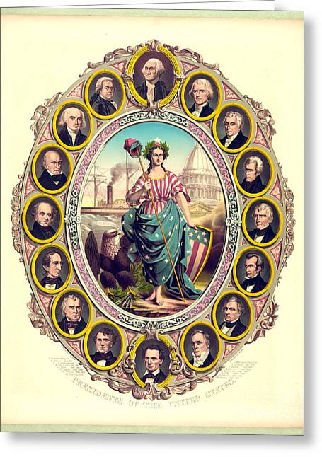 First Sixteen Usa Presidents 1861 Greeting Card by Padre Art