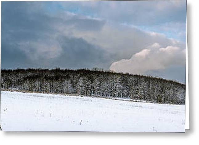 Snowy Day Greeting Cards - First snow across a farm field Greeting Card by Chris Bordeleau