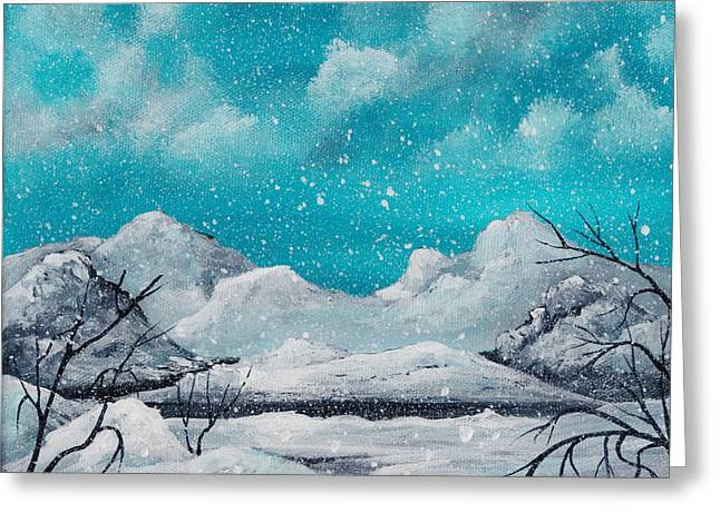 Surreal Landscape Drawings Greeting Cards - First Snow Greeting Card by Anastasiya Malakhova