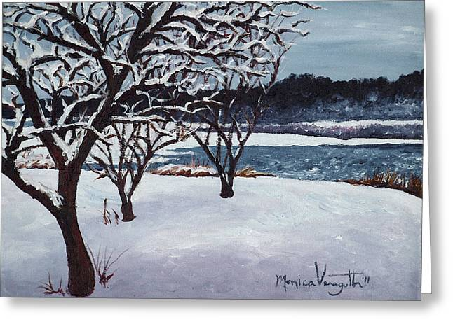 Monica Veraguth Greeting Cards - First Snow at Lake Winona Greeting Card by Monica Veraguth
