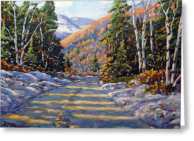 Quebec Paintings Greeting Cards - First Snow by Prankearts Greeting Card by Richard T Pranke