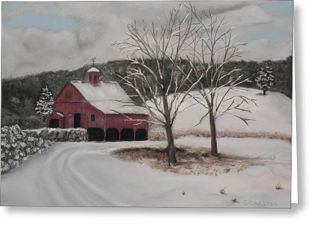New England. Pastels Greeting Cards - First Snow Greeting Card by Carol Corliss