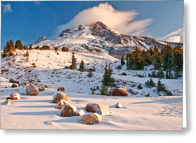 Mount Hood Oregon Greeting Cards - First Snow Greeting Card by Darren  White