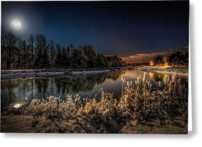 Full Moon Greeting Cards - First Snow Greeting Card by Everet Regal