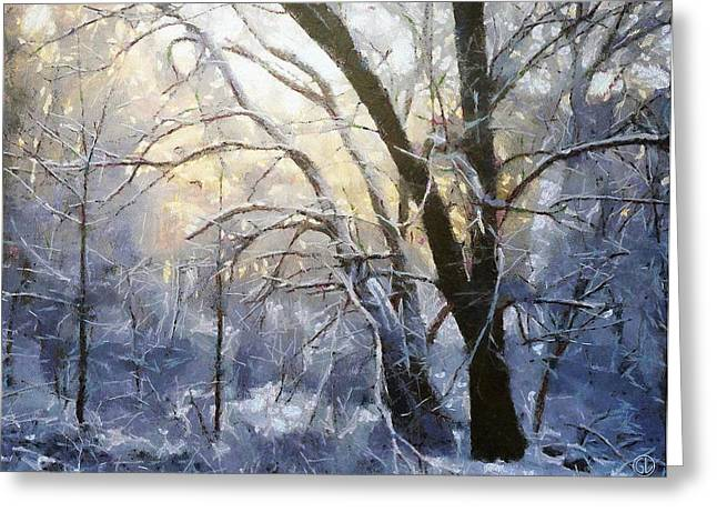 Thin Greeting Cards - First snow Greeting Card by Gun Legler