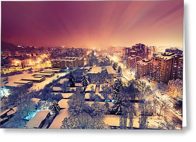 City Lights Greeting Cards - First Snow Greeting Card by Ivan Vukelic