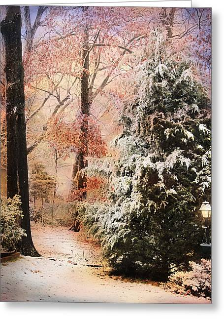 First Snow Greeting Card by Jai Johnson