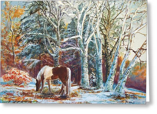 Recently Sold -  - Grazing Snow Greeting Cards - First Snow Greeting Card by Joy Nichols