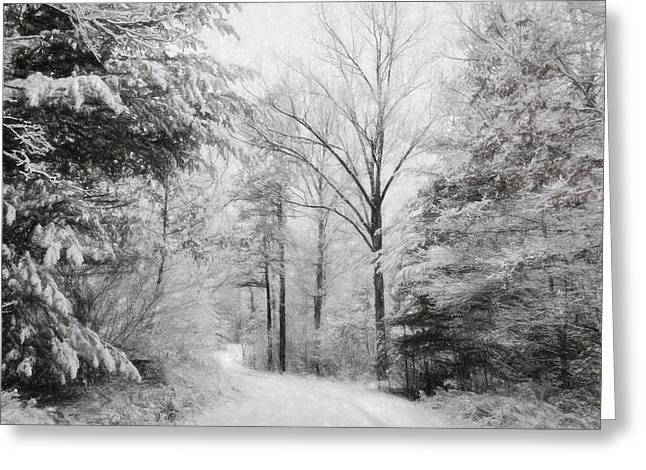 Snowy Roads Digital Art Greeting Cards - First Snow Greeting Card by Lori Deiter