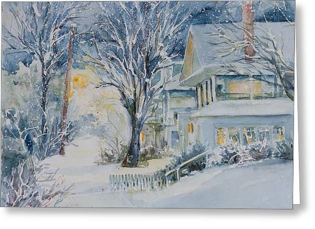 Asbury Park Paintings Greeting Cards - First Snow Greeting Card by MG Ferguson