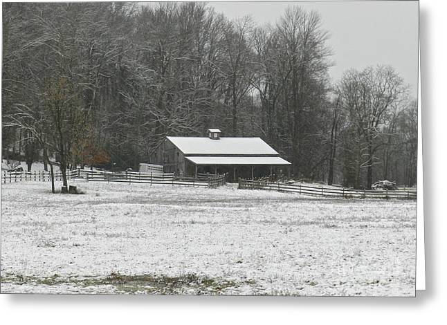 Barn Covered In Snow Greeting Cards - First Snow Of Winter 2014 Greeting Card by Lori Amway