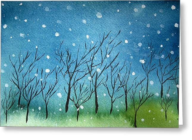 Oiyee Greeting Cards - First Snow Greeting Card by Oiyee  At Oystudio