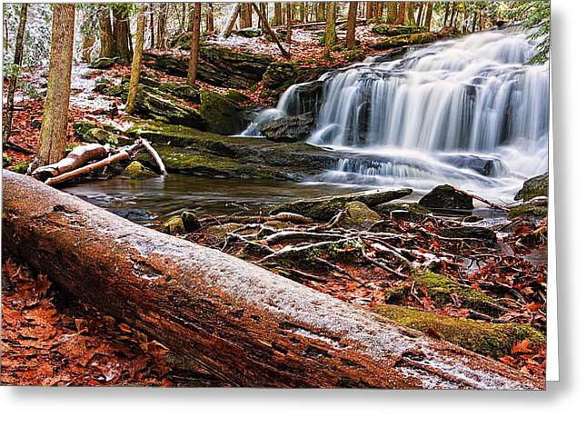 Moss-covered Greeting Cards - First Snow Tucker Brook Falls Greeting Card by Jeff Sinon