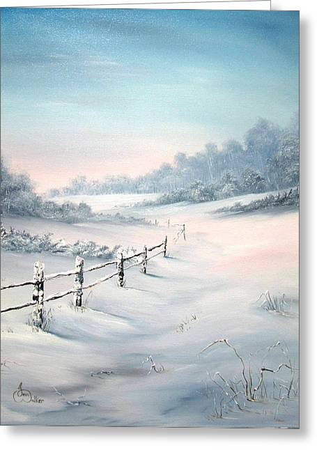 Sledge Training Greeting Cards - First Snows Greeting Card by Jean Walker