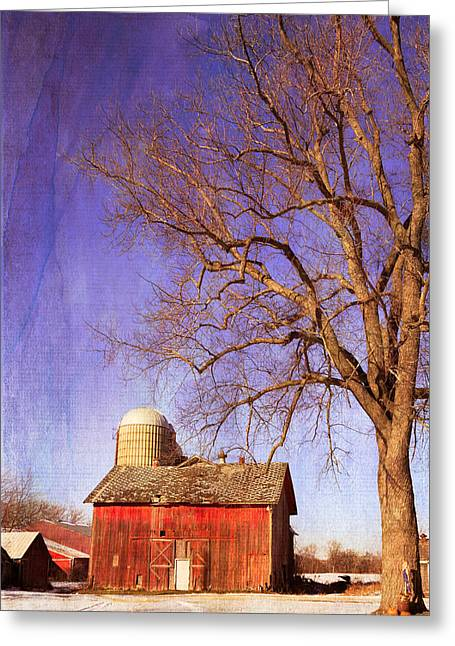 Outbuildings Greeting Cards - First Snows on the Farm Greeting Card by Kathleen Scanlan