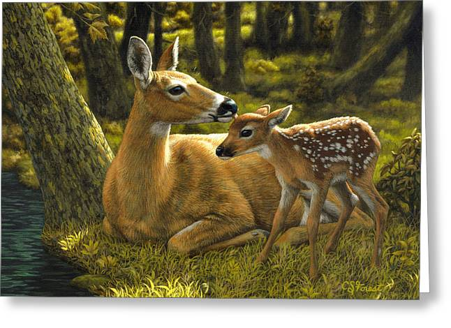 Fawn Greeting Cards - First Spring - variation Greeting Card by Crista Forest