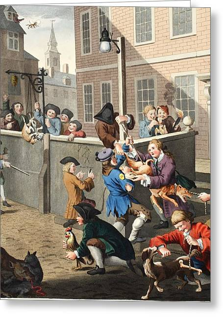 Moral Drawings Greeting Cards - First Stage Of Cruelty, Illustration Greeting Card by William Hogarth