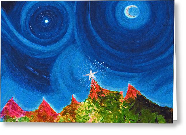 Star Of Bethlehem Paintings Greeting Cards - First Star Christmas Wish by jrr Greeting Card by First Star Art